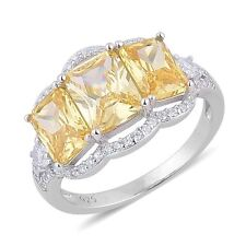 YELLOW WHITE SIMULATED DIAMOND STERLING SILVER SPLIT 3 STONE RING SIZE 6 CANARY