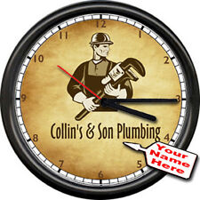 Plumbing Plumber w/ Tools Retro Vintage Look Your Name Personalized Wall Clock