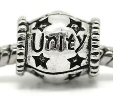 Unity Inspirational Star Word Spacer Charm for Silver European Bead Bracelets