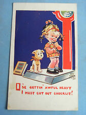 Comic Postcard 1930s Penny Arcade Weighing Machine - DOGS Theme