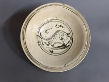 A large Sukhothai pottery fish plate 13-14th C AD