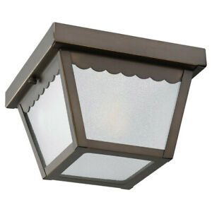 Sea Gull Lighting 75467-71  Outdoor Flush Mount Ceiling Light, Antique Bronze