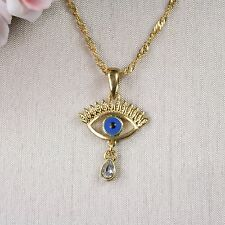 N1 18K Gold Filled Crystal and Enamel Eye Necklace & Pendant - Gift boxed
