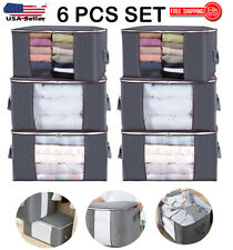 6 PCS Large Foldable Storage Bag Clothes Blanket Quilt Closet Organizer Box