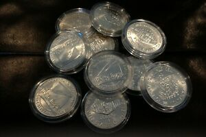 10 Coin 1987-P UNC CONSTITUTION Silver Dollar LOT OF TEN in capsules B.U.