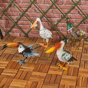 Metal Birds Toucan Pelican Pheasant Garden Ornaments Figurines Statues