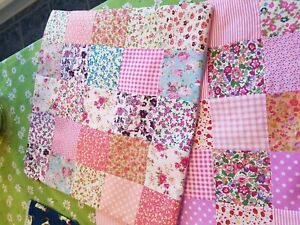 """One handmade mixed pink patchwork approx 16x16"""" cotton cushion cover"""