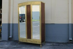 c1920's FRENCH ART DECO - LUXE - SOLID BRASS with PALISANDER ARMOIRE / WARDROBE
