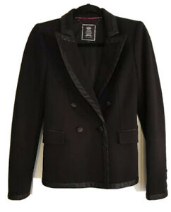 New Women's Juicy Couture 4 Black Snake Trim Double Breasted Blazer Lined $258
