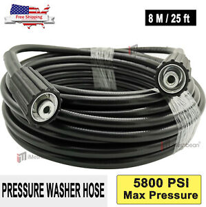 25FT 5800psi High Pressure Power Washer Hose Extension Washer w/ M22 Coupler