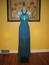 NWT  Arden B. Silk Jeweled Ombre Blue Evening Gown Size 2