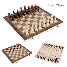 3 in 1 Chess Checkers And Backgammon Foldable Travel Wooden Game Set Board Case