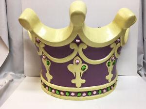 Large Girl's Room PURPLE Jeweled Crown Hanging Wall Decor Princess TIARA