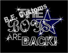"Rhinestone Transfer ""Dallas Cowboys The boys are back"" Hotfix , Iron On, Bling"