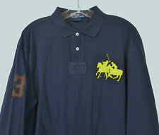 POLO RALPH LAUREN Men's XL Navy Shirt L/S Double BIG Yellow Pony #3 Rugby Polo