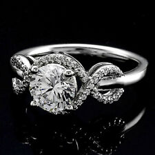 Halo .85 Carat SI1/J Round Cut Real Diamond Engagement Ring White Gold