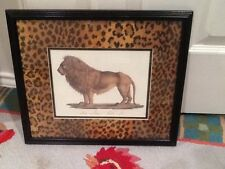 "Lion safari print cheetah matted framed picture 15"" x 13"""