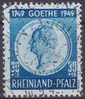 French Zone Rhineland-Palatinate 48 O 30+15 Pf By Goethe Postmarked