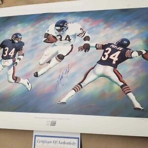 RARE Walter Payton Autographed Lithograph Chicago Bears Steiner Sports w/COA