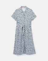 Joules Womens 211140 Short Sleeve Button Front Shirt Dress - Creme Animal Spot