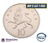 PROOF: BRITISH TEN PENCE DECIMAL 10p OLD COINS 1971 TO 2020 - CHOICE OF YEAR