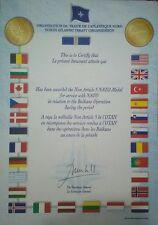 NATO diploma attestato certificato medaglia militare Kosovo Bosnia Yugoslavia