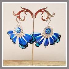 Boucles d'oreilles BOHM Bijoux bleu plume fleur mode femme