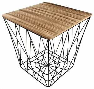 Wooden Top Black Metal Wire Square Storage Basket End Side Table Home Furniture