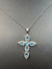 """Solid Sterling Silver 925 Aquamarine Clear CZ Cross Pendant Necklace 18"""""""