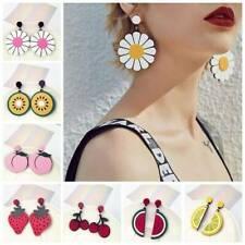 Women Charms Lemon Cherry Fruit Watermelon Flower Acrylic Stud Dangle Earrings