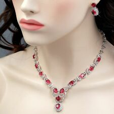 White Gold Plated Red Cubic Zirconia Necklace Earrings Wedding Jewelry Set 00760