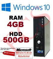 FAST Dell PC Computer Desktop WINDOWS 10  4GB 500GB HDD Wifi
