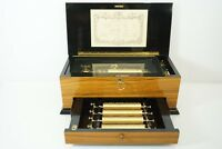 Rare Reuge 72 Note Interchangeable Cylinder Music Box in Rosewood with 15 Airs