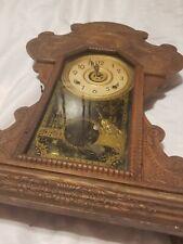 Antique E Ingraham Wood Mantle Chime Clock
