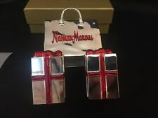 Neiman Marcus Shopping Bag Salt & Pepper Shakers Style 69325 Silver/Red Bows