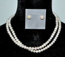 NEW 925 Sterling Silver 10mm Pearl Pierced Earrings Necklace Wedding Bridal Set
