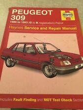 HAYNES MANUAL 1266  PEUGEOT 309 1986 to 1993 , C to K REG  .  FREE UK POSTAGE