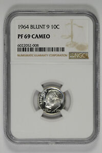 1964 Blunt 9 10c Silver Proof Roosevelt Dime NGC PF 69 Cameo