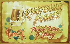 Root Beer Floats & French Fries TIN SIGN vtg drive-in diner metal wall decor OHW