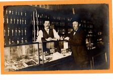 Real Photo Postcard RPPC - Two Men at Liquor and Cigar Store Counter
