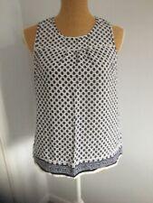 Women's Clothing Fashion Top Sleeveless F&F Blue & White Size 10 Used