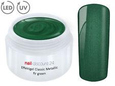 UV LED GEL METALLIC Effekt FIR GREEN Farbgel Color French Glitter Modellage Grün