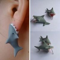 HOT Handmade Polymer Clay Soft Cute Shark Earrings Women Animal Ear Stud Jewelry