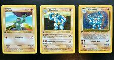 1999 Pokemon Base Set TCG 1st Edition Shadowless Machamp & Machoke & Machop