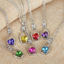 Love Heart Wishing Bottle Clavicle Short Jewelry Chain Crystal Necklace Gift
