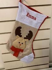 Personalised Embroidered Christmas Santa Reindeer Stocking