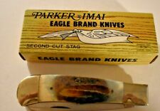 PARKER IMAI FOLDING KNIFE EAGLE BRAND KNIVES SECOND CUT STAG #K-77 NEW W/ BOX