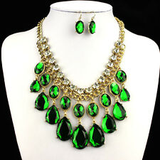 Chunky Gold Tone Diamante Crystal Emerald Green Tear Drop Necklace & Earring Set