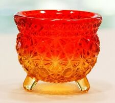 "3"" Vintage Fenton 3 Footed Daisy Button Red & Gold Glass Kettle Toothpick Holder"