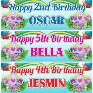 2 Personalised Hatchimals Adventure Birthday Party Banners Decoration Posters